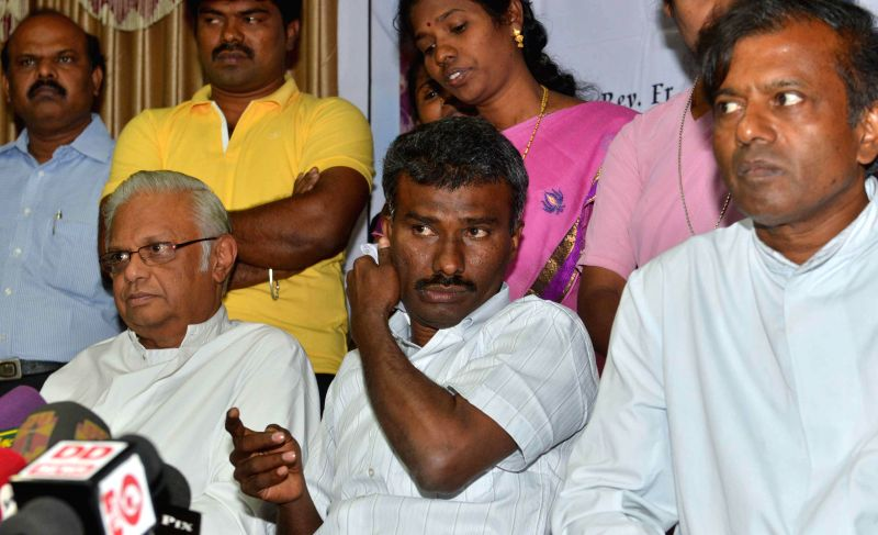 Jesuit priest Father Alexis Premkumar Antonysamy , who spent eight months in captivity of Taliban in Afghanistan during a press conference in Chennai, on Feb 26, 2015.