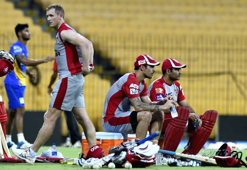 Kings XI Punjab captain George Bailey with teammates Virender Sehwag and Mitchell Johnson during a practice session at the M A Chidambaram Stadium in Chennai, on April 24, 2015. - George Bailey