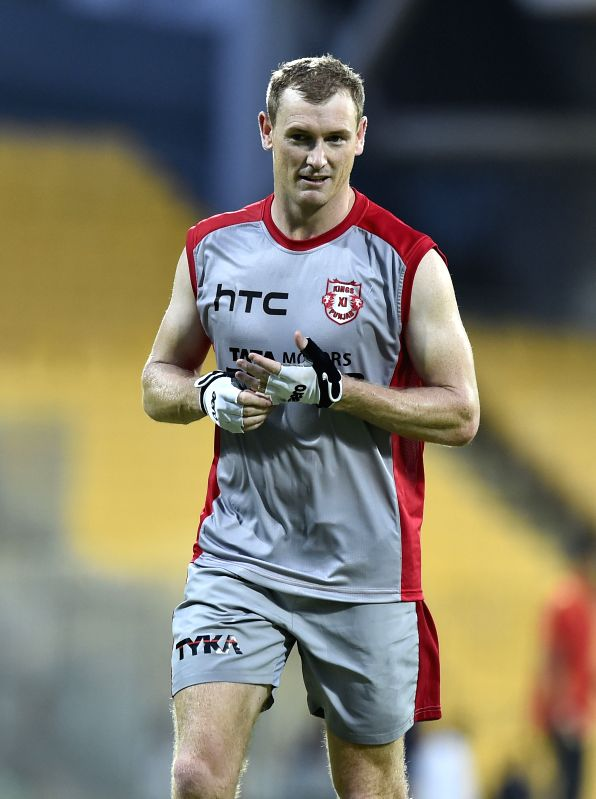 Kings XI Punjab captain George Bailey during a practice session at the M A Chidambaram Stadium in Chennai, on April 24, 2015. - George Bailey
