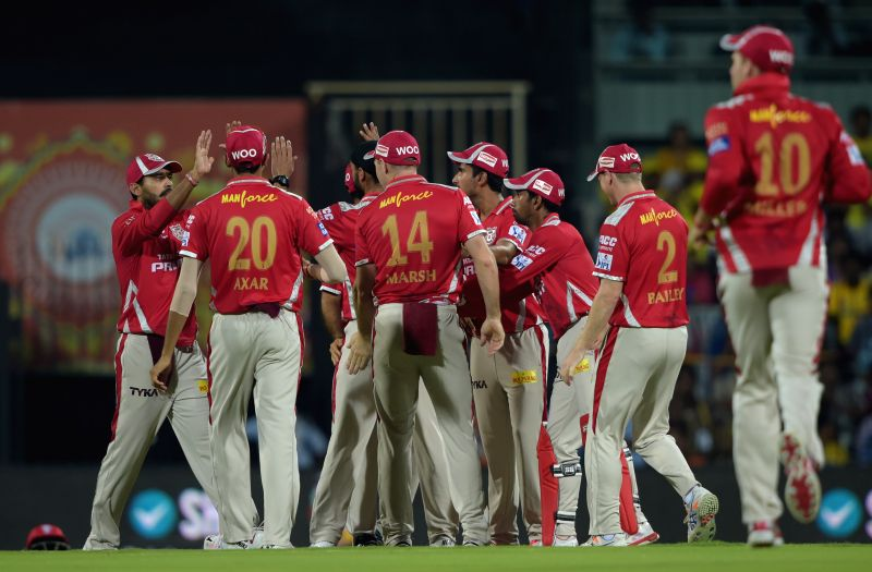 Kings XI Punjab celebrate fall of a wicket during an IPL-2015 match between Chennai Super Kings and ​Kings XI Punjab at MA Chidambaram Stadium, in Chennai, on April 25, 2015.