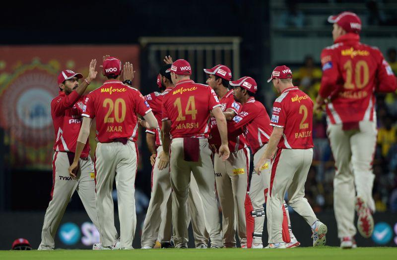 Kings XI Punjab celebrate fall of a wicket during an IPL-2015 match between Chennai Super Kings and Kings XI Punjab at MA Chidambaram Stadium, in Chennai, on April 25, 2015.