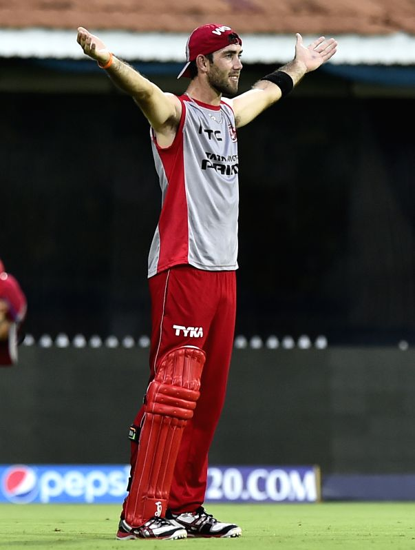 Kings XI Punjab player Glenn Maxwell during a practice session at the M A Chidambaram Stadium in Chennai, on April 24, 2015.