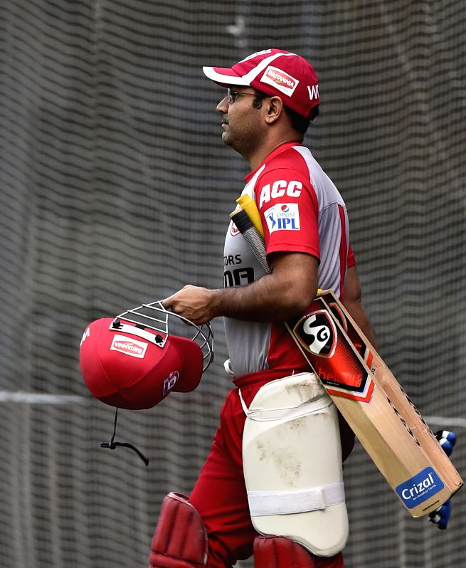 Kings XI Punjab player Virender Sehwag during a practice session at the M A Chidambaram Stadium in Chennai, on April 24, 2015.