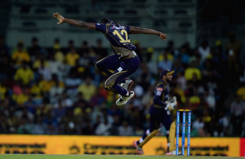 Kolkata Knight Riders batsman Andre Russell celebrates fall of a wicket during an IPL - 2015 match between Chennai Super Kings and Kolkata Knight Riders at MA Chidambaram Stadium in Chennai, ... - Andre Russell