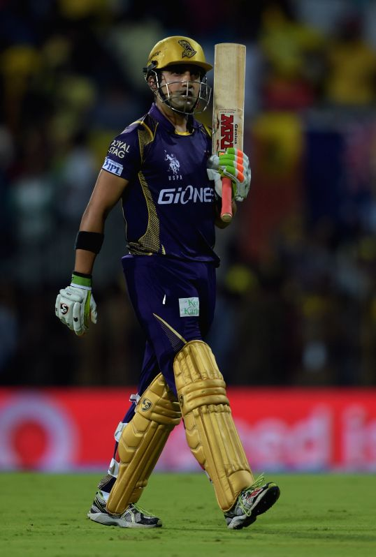 Kolkata Knight Riders captain Gautam Gambhir returns back to the pavilion after getting dismissed during an IPL - 2015 match between Chennai Super Kings and Kolkata Knight Riders at MA ... - Gautam Gambhir