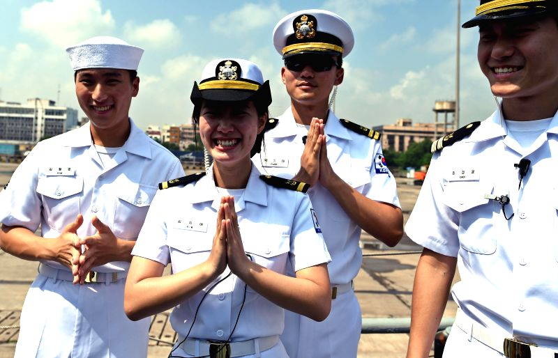 Korean Navy ships at Chennai Port Trust in Chennai on Nov. 15, 2014.