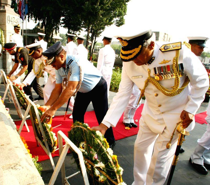 (L to R) Commander, Coast Guard (East), Brigadier Kulpreet Singh, Naval Officer-in-Charge (TamilNadu & Puducherry) Commodore Amar K Mahadevan, Station Commander and Air Commodore Rippon . - Kulpreet Singh and Commodore Rippon Gupta