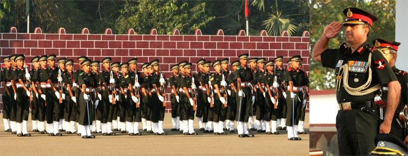 Lieutenant General Sanjeev Madhok, GOC-in-C, ARTRAC during the passing out parade at Officers Training Academy in Chennai on 14 March 2015.