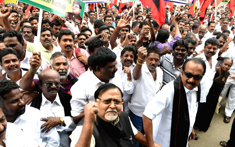Marumalarchi Dravida Munnetra Kazhagam (MDMK) chief Vaiko with Trinamool Congress (TMC) Secretary-General and West Bengal Education Minister Partha Chatterjee participate in a demonstration . - Partha Chatterjee