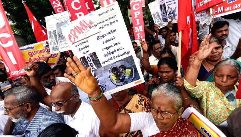 Members of Communist Party of India shout slogans against a visit of U.S. President Barack Obama to India, in Chennai, India, on Jan. 24. 2015.
