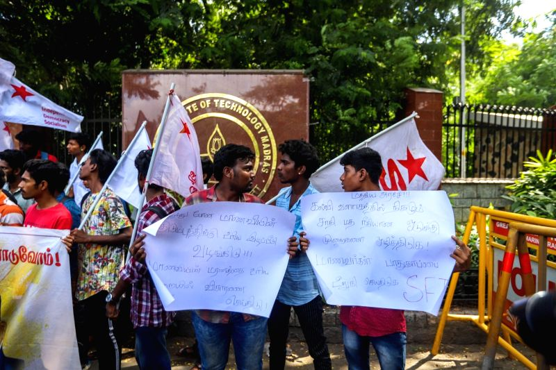 Chennai: Members of Students Federation of India (SFI) stage a demonstration over the suicide of Fathima Latheef, a first year student of the Indian Institute of Technology Madras (IIT-M) outside the campus in Chennai on Nov 14, 2019. Fathima, a firs