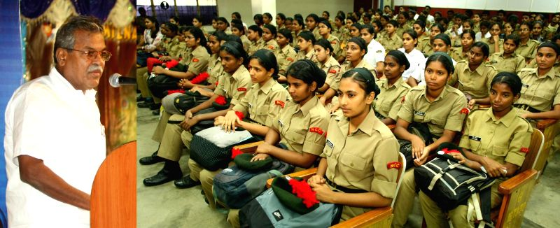 Minister for Sports and Youth Welfare Government of Tamil Nadu S Sundararaj during NCC Day celebrations at DG Vaishnav College in Chennai on Nov 24, 2014.