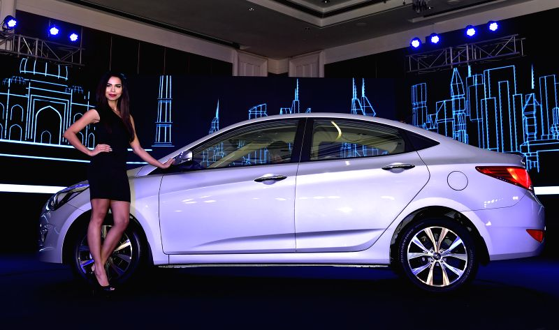Models at the launch of the new 4S Fluidic Verna in Chennai on Feb 19, 2015.