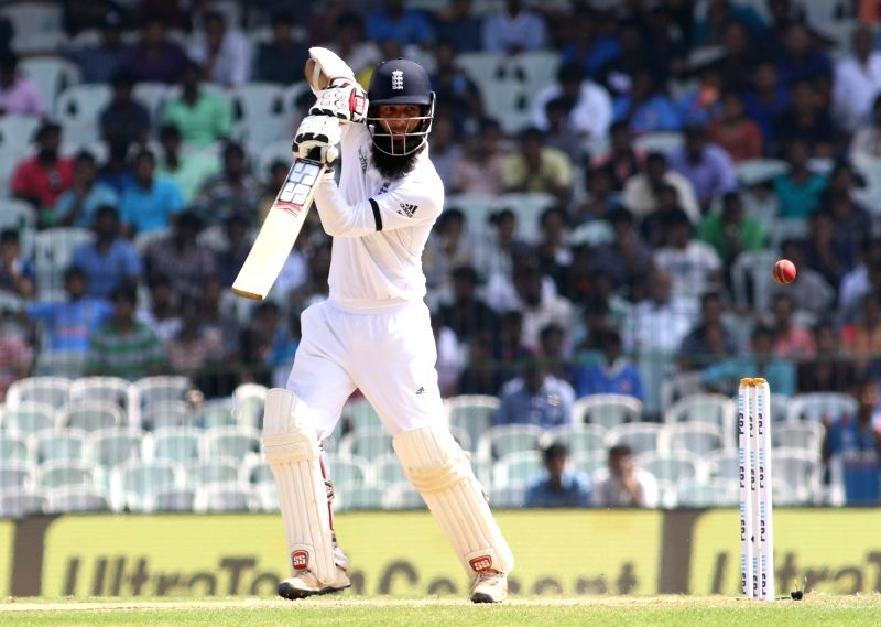 Chennai: Moeen Ali of England in action on Day 1 of the fifth test match between India and England at M. A. Chidambaram Stadium in Chennai, on Dec 16, 2016. (Photo: Surjeet Yadav/IANS)