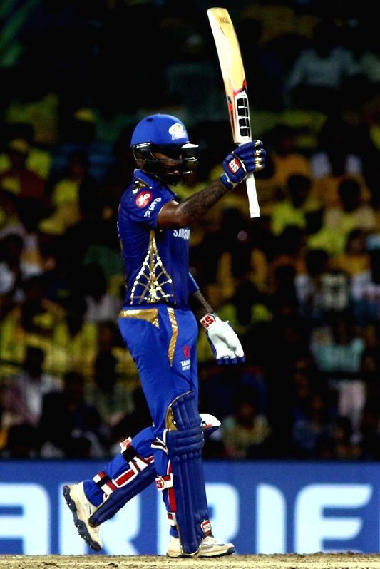 Chennai: Mumbai Indians' Suryakumar Yadav celebrates his half century during the 1st Qualifier match of IPL 2019 between Chennai Super Kings and Mumbai Indians at MA Chidambaram Stadium in Chennai, on May 7, 2019.
