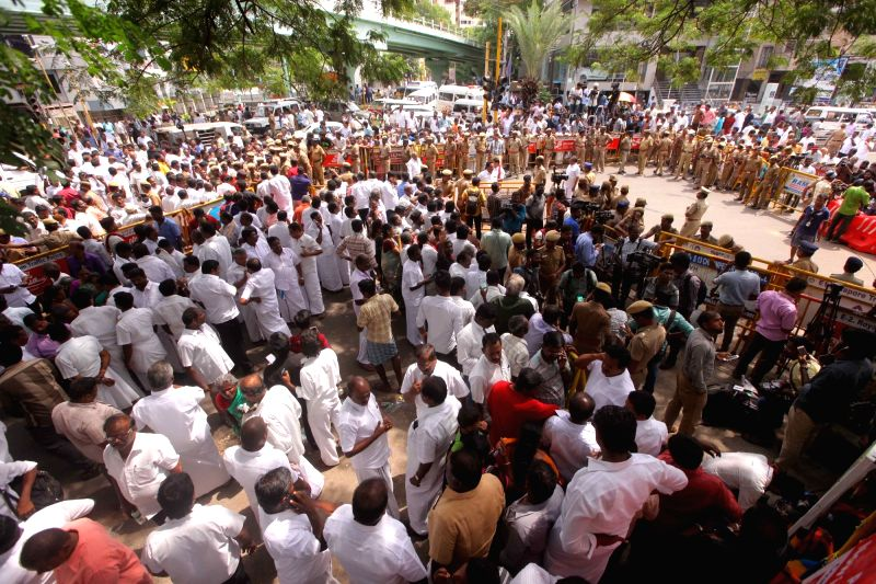 :Chennai: People gather outside the Kauvery Hospital where DMK chief M. Karunanidhi is admitted in the hospital in Chennai on July 30, 2018. (Photo: IANS).