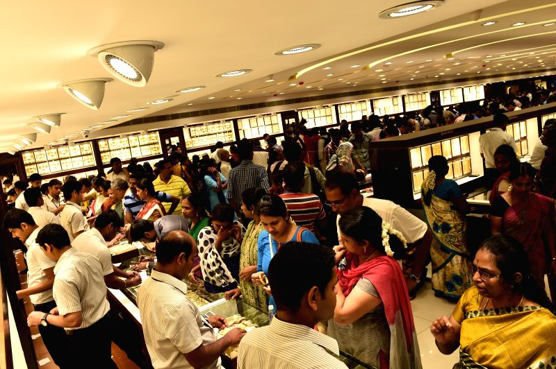People shopping at a jewellery shop on Akshaya Tritiya in Chennai on April 21, 2015.