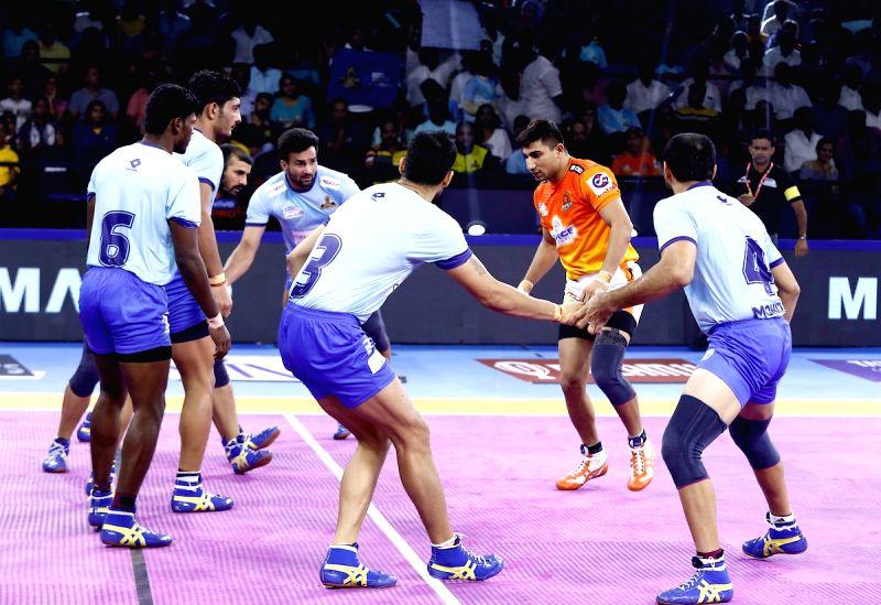 Chennai: Players in action during a Pro Kabaddi Season 7 match between Tamil Thalaivas and Puneri Paltan at Jawaharlal Nehru Indoor Stadium in Chennai on Aug 18, 2019. (Photo: IANS)