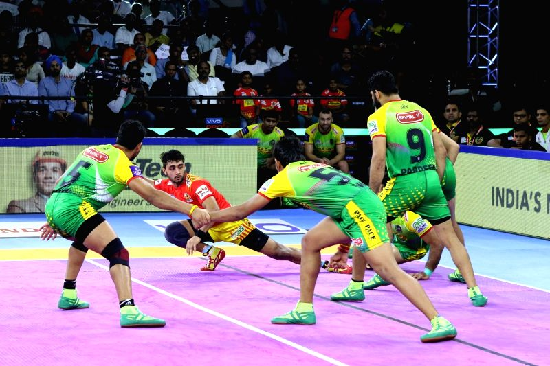 Chennai: Players in action during a Pro Kabaddi Season 7 match between Gujarat Fortunegiants and Patna Pirates at Jawaharlal Nehru Indoor Stadium in Chennai on Aug 23, 2019. (Photo: IANS)