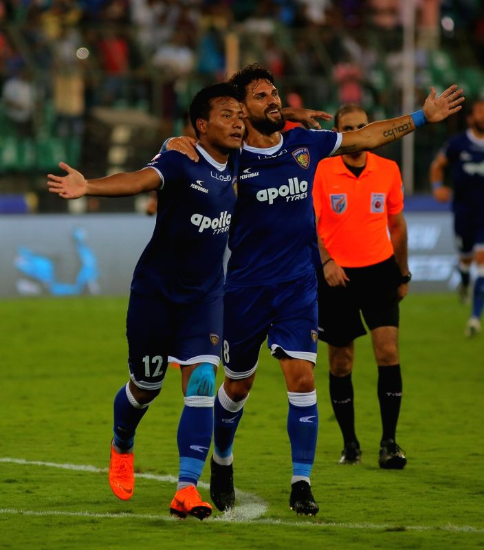 :Chennai: Players in action during an ISL semifinal match between Chennaiyin FC and FC Goa in Chennai on March 13, 2018. (Photo: IANS).