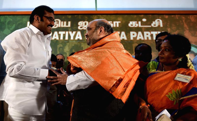 Sidelined DMK leader and former union minister D. Napoleon joins BJP in presence of BJP chief Amit Shah in Chennai, on Dec 21, 2014. - D. Napoleon