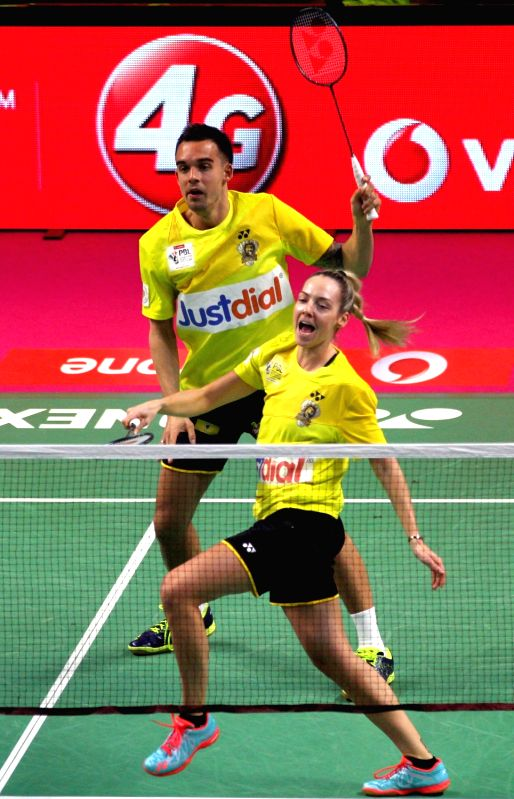 Chennai Smashers' Chris Adcock and Gabrielle Adcock in action against Bodin Isara and Prajakta Sawant Awadhe Warriors  during a Premier Badminton League 2017 match at Koramangala Indoor ...