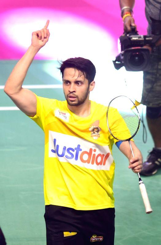 Chennai Smashers' Parupalli Kashyap in action against  Awadhe Warriors'  Aditya Joshi during a Premier Badminton League 2017 match at Koramangala Indoor Stadium in Bengaluru, on Jan 11, ... - Parupalli Kashyap and Joshi