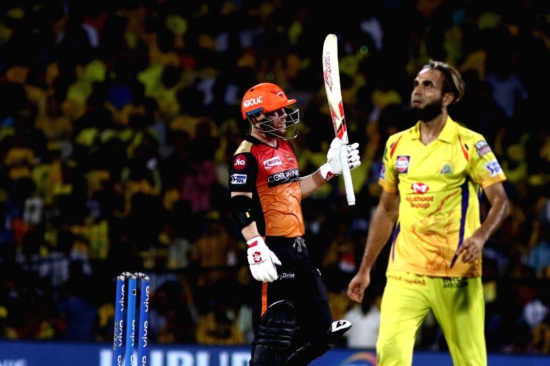 Chennai: Sunrisers Hyderabad's David Warner celebrates his half century during the 41st match of IPL 2019 between Chennai Super Kings and Sunrisers Hyderabad at MA Chidambaram Stadium in Chennai, on April 23, 2019. (Photo: IANS)