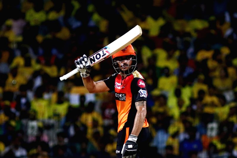 Chennai: Sunrisers Hyderabad's Manish Pandey celebrates his half century during the 41st match of IPL 2019 between Chennai Super Kings and Sunrisers Hyderabad at MA Chidambaram Stadium in Chennai, on April 23, 2019. (Photo: IANS)