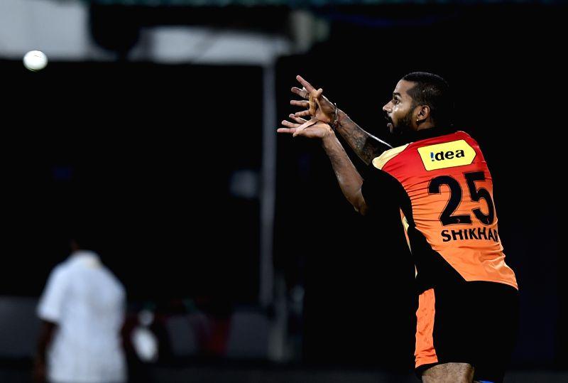 Sunrisers Hyderabad (SRH) player Shikhar Dhawan during a practice session at the M A Chidambaram Stadium in Chennai, on April 10, 2015. - Shikhar Dhawan