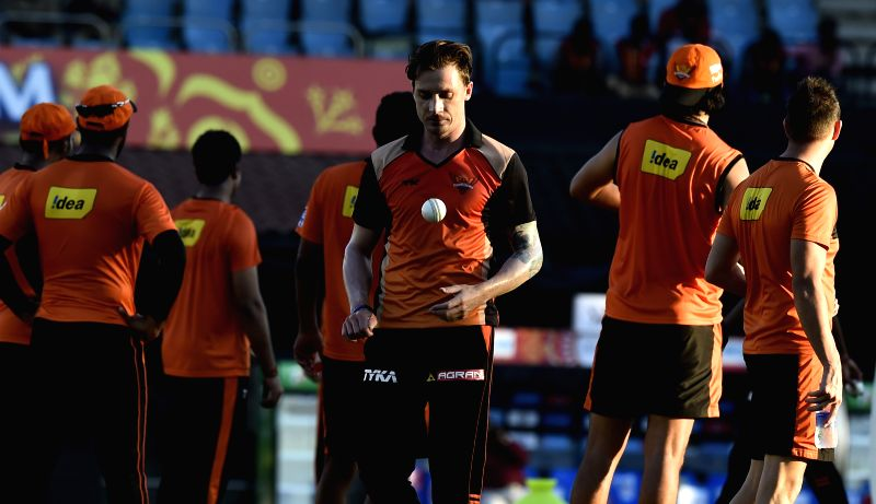 Sunrisers Hyderabad (SRH) players Dale Steyn during a practice session at the M A Chidambaram Stadium in Chennai, on April 10, 2015.