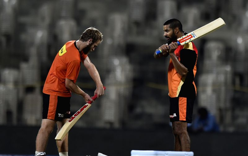Sunrisers Hyderabad (SRH) players Shikhar Dhawan and Kane Williamson during a practice session at the M A Chidambaram Stadium in Chennai, on April 10, 2015. - Shikhar Dhawan