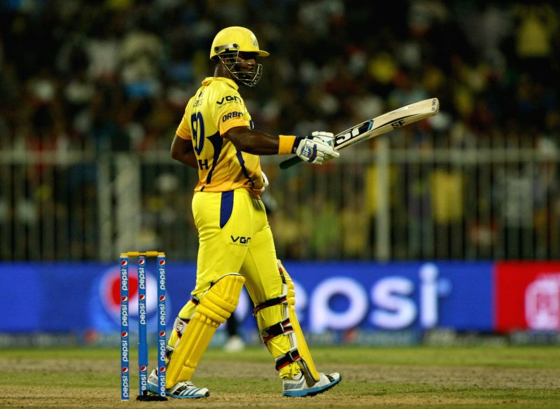Chennai Super Kings batsman Dwayne Smith celebrates his half century during the 17th match of IPL 2014 between Sunrisers Hyderabad and Chennai Super Kings, played at Sharjah Cricket Stadium in ... - Dwayne Smith