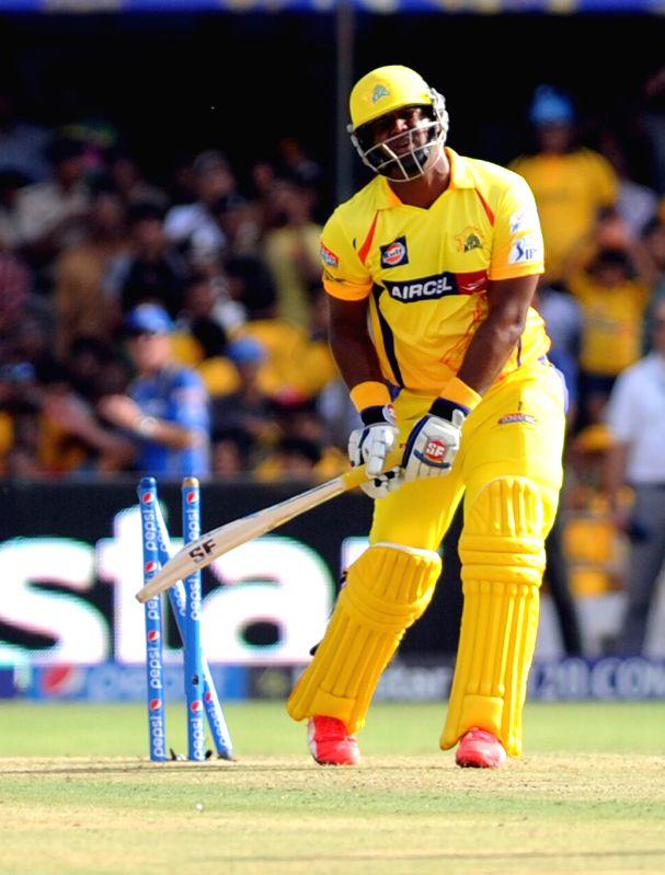 Chennai Super Kings batsman Dwayne Smith gets dismissed during an IPL-2015 match between Chennai Super Kings and Rajasthan Royals at Sardar Patel Stadium, Motera, in Ahmedabad, on April 19, 2015. - Dwayne Smith and Sardar Patel Stadium