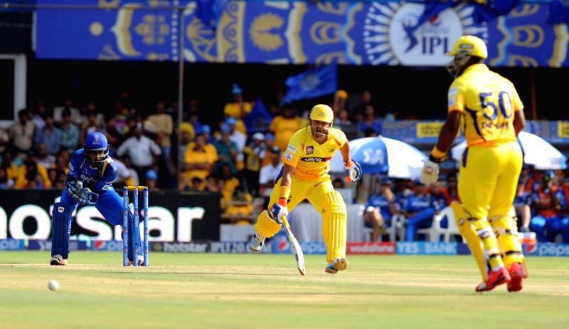 Chennai Super Kings batsman MS Dhoni in action during an IPL-2015 match between Chennai Super Kings and Rajasthan Royals at Sardar Patel Stadium, Motera, in Ahmedabad, on April 19, 2015. - MS Dhoni and Sardar Patel Stadium