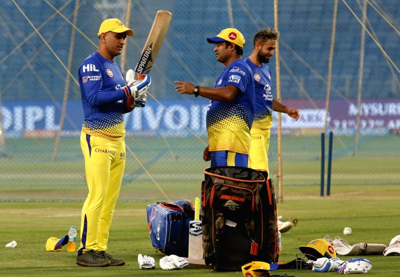 Chennai Super Kings captain MS Dhoni during a practice session ahead of an IPL 2018 match against Rajasthan Royals at Maharashtra Cricket Association Stadium in Pune on April 19, 2018. - MS Dhoni