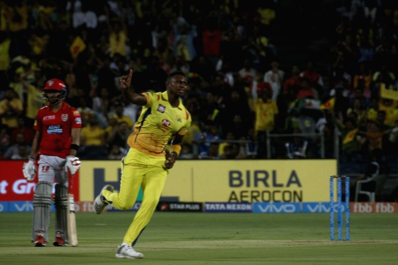 Chennai Super Kings' Lungi Ngidi celebrates fall of Lokesh Rahul's wicket during an IPL 2018 match between Chennai Super Kings and Kings XI Punjab at Maharashtra Cricket Association Stadium in ... - Lokesh Rahul