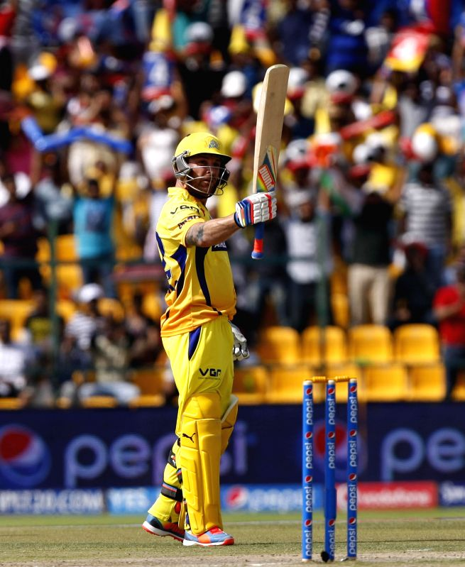 Chennai Super Kings player Brendon McCullum celebrates his half century during the third match of IPL 2014 between Chennai Super Kings and Kings XI Punjab, played at Sheikh Zayed Stadium in Abu Dhabi