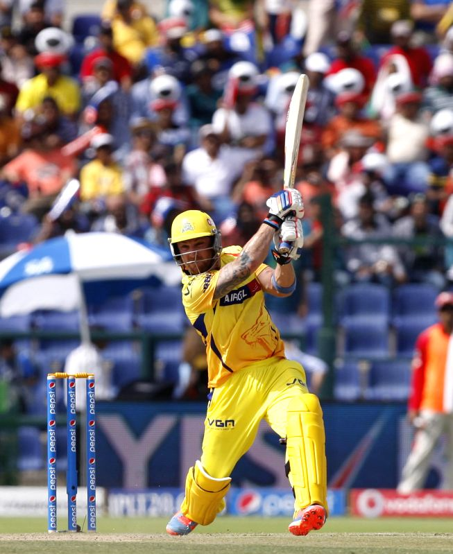 Chennai Super Kings player Brendon McCullum in action during the third match of IPL 2014 between Chennai Super Kings and Kings XI Punjab, played at Sheikh Zayed Stadium in Abu Dhabi of United Arab ...