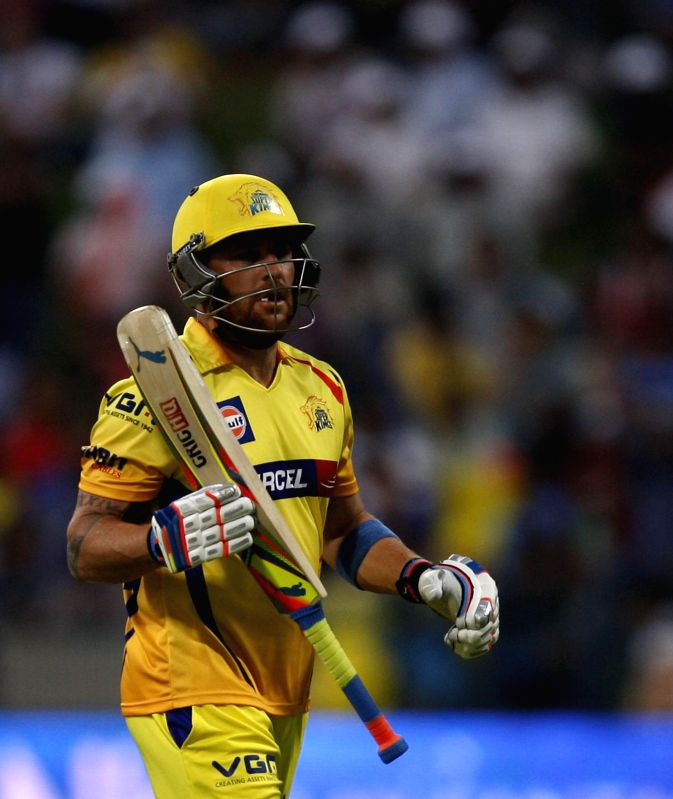 Chennai Super Kings player Brendon McCullum in action during the eighth match of IPL 2014 between Chennai Super Kings and Delhi Daredevils, played at Sheikh Zayed Stadium in Abu Dhabi of United Arab .