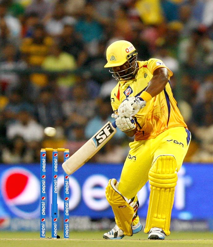 Chennai Super Kings player Dwayne Smith in action during the eighth match of IPL 2014 between Chennai Super Kings and Delhi Daredevils, played at Sheikh Zayed Stadium in Abu Dhabi of United Arab ...