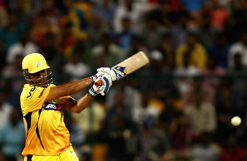 Chennai Super Kings player  M S Dhoni during the eighth match of IPL 2014 between Chennai Super Kings and Delhi Daredevils, played at Sheikh Zayed Stadium in Abu Dhabi of United Arab Emirates on ...