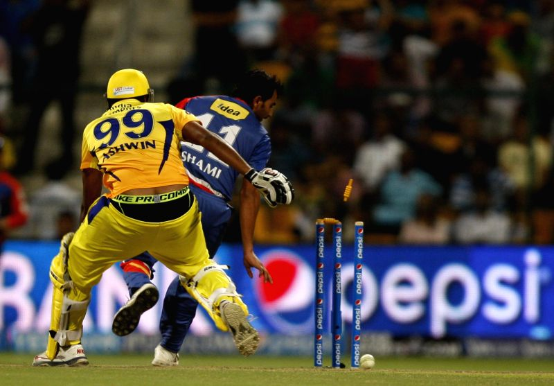 Chennai Super Kings player Ravichandran Ashwin gets dismissed by Mohammed Shami during the eighth match of IPL 2014 between Chennai Super Kings and Delhi Daredevils, played at Sheikh Zayed Stadium in