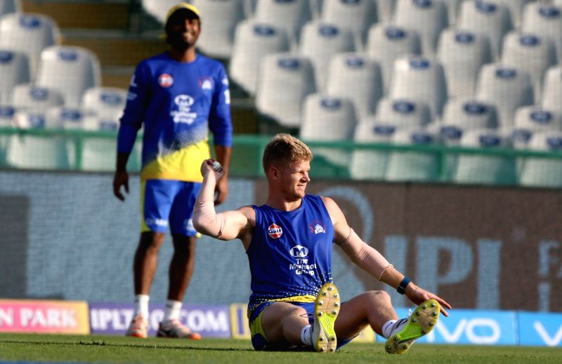 Chennai Super Kings player Sam Billings during a practice session in Mohali on April 14, 2018.