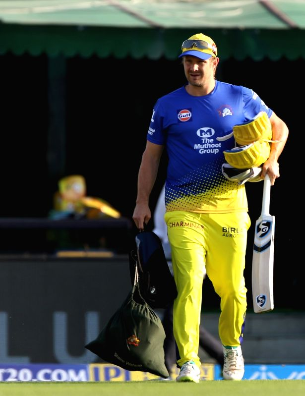 Chennai Super Kings player Shane Watson during a practice session in Mohali on April 14, 2018.