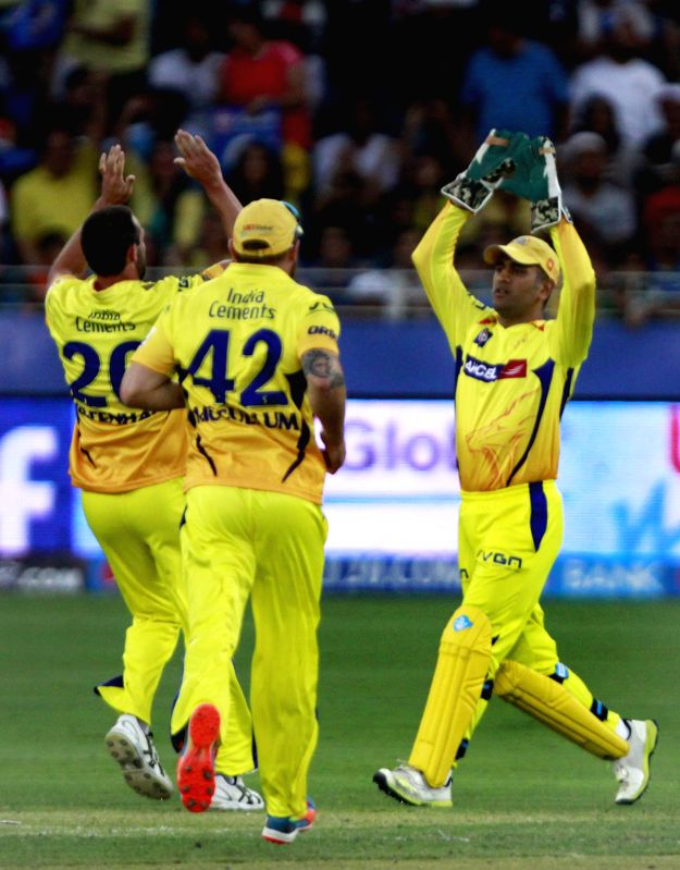 Chennai Super Kings players celebrate fall of a wicket during the 13th match of IPL 2014 between Chennai Super Kings and Mumbai Indians, played at Dubai International Cricket Stadium in Dubai of ...