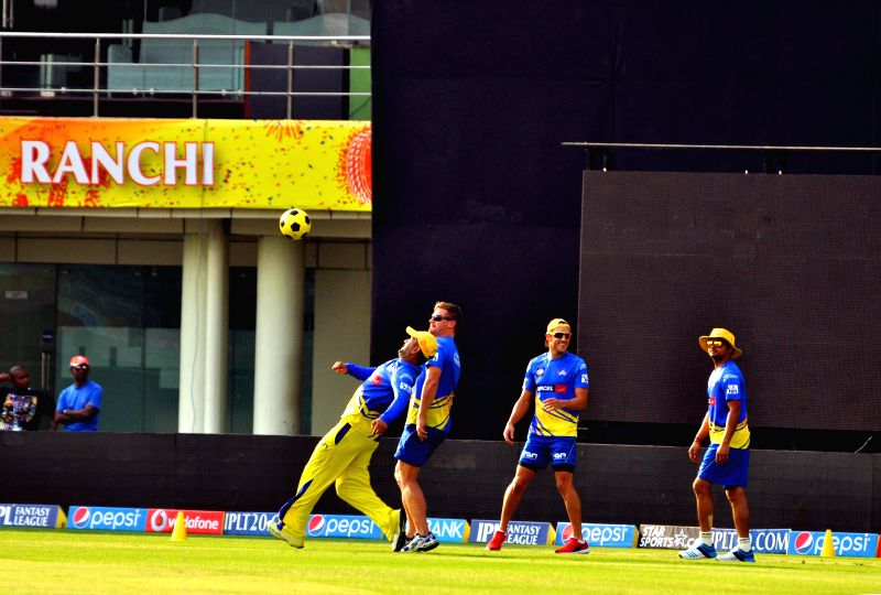 Chennai Super Kings players during practice session a day ahead of their IPL match against Kolkata Knight Riders at JSCA stadium in Ranchi on May 1, 2014.