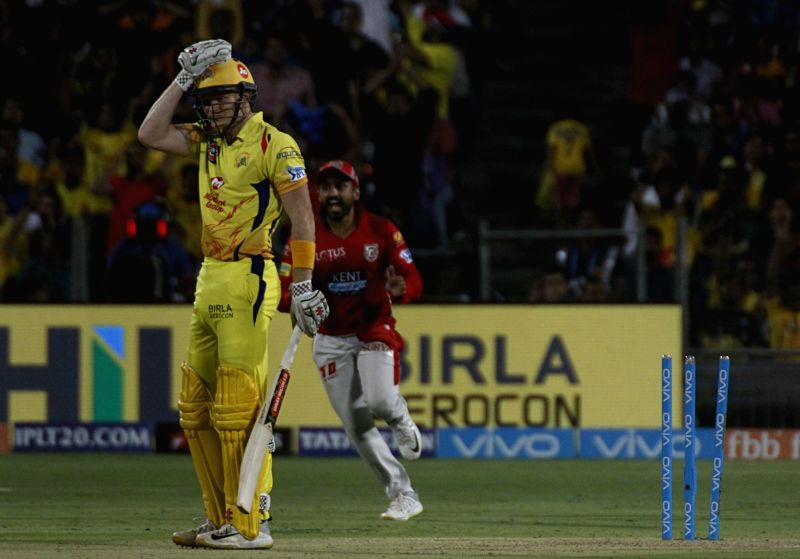 Chennai Super Kings' Sam Billings gets dismissed during an IPL 2018 match between Chennai Super Kings and Kings XI Punjab at Maharashtra Cricket Association Stadium in Pune on May 20, 2018.