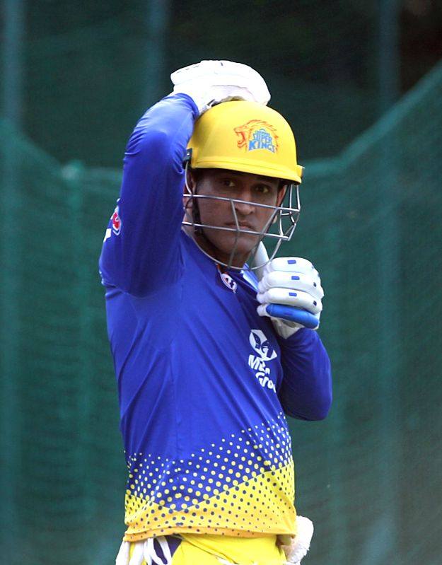 Chennai Super Kings skipper MS Dhoni during a practice session in Mohali on April 14, 2018. - MS Dhoni