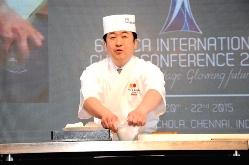 Sushi Ninja Master Chef Hirotoshi Ogawa during the 6th International Chef Conference 2015 in Chennai on March 21, 2015.